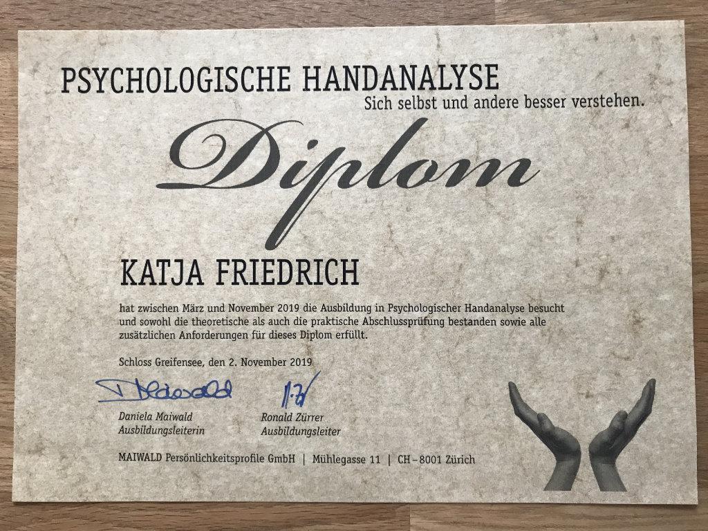 Diplom Katja Friedrich Psychologische Handanalyse