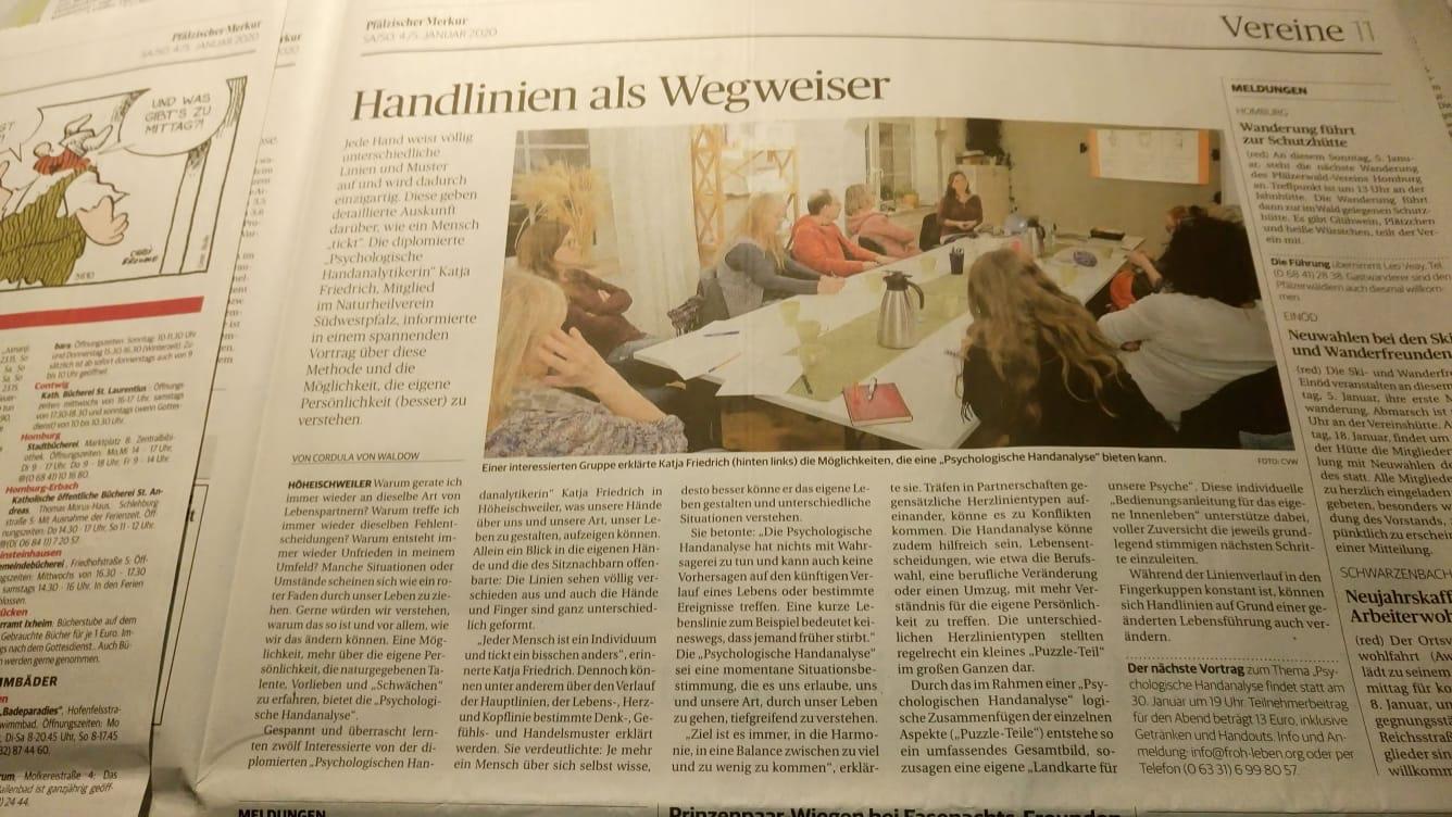 Handlinien als Wegweiser Psychologische Handanalyse Katja Friedrich Pfaelzer Merkur 2020-01-06 verkleinert